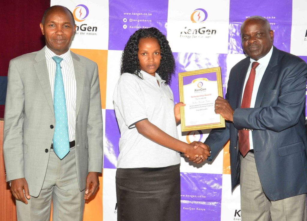 Former KenGen MD & CEO Eng. Albert Mugo and KenGen Chair of the Board Mr. Joshua Choge during the 2017 Education Scholarships Awards.